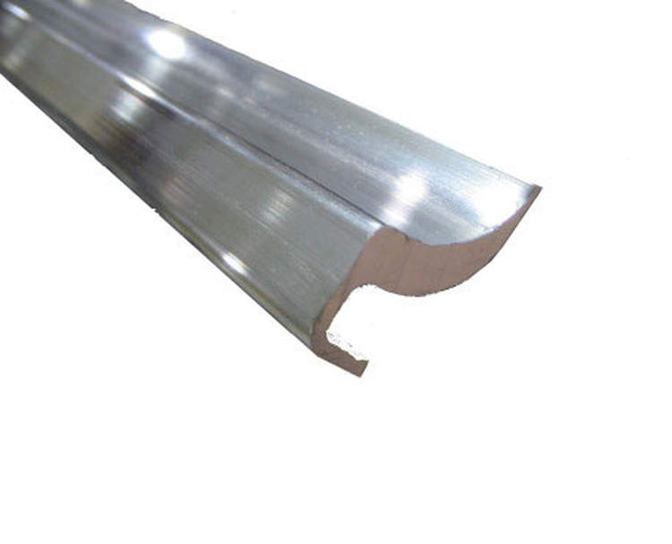 This extrusion is designed as a solution for grooves created in the rail track caused by curtain rollers (buckles were not fastened tautly). Sold in 8 ft. sections.